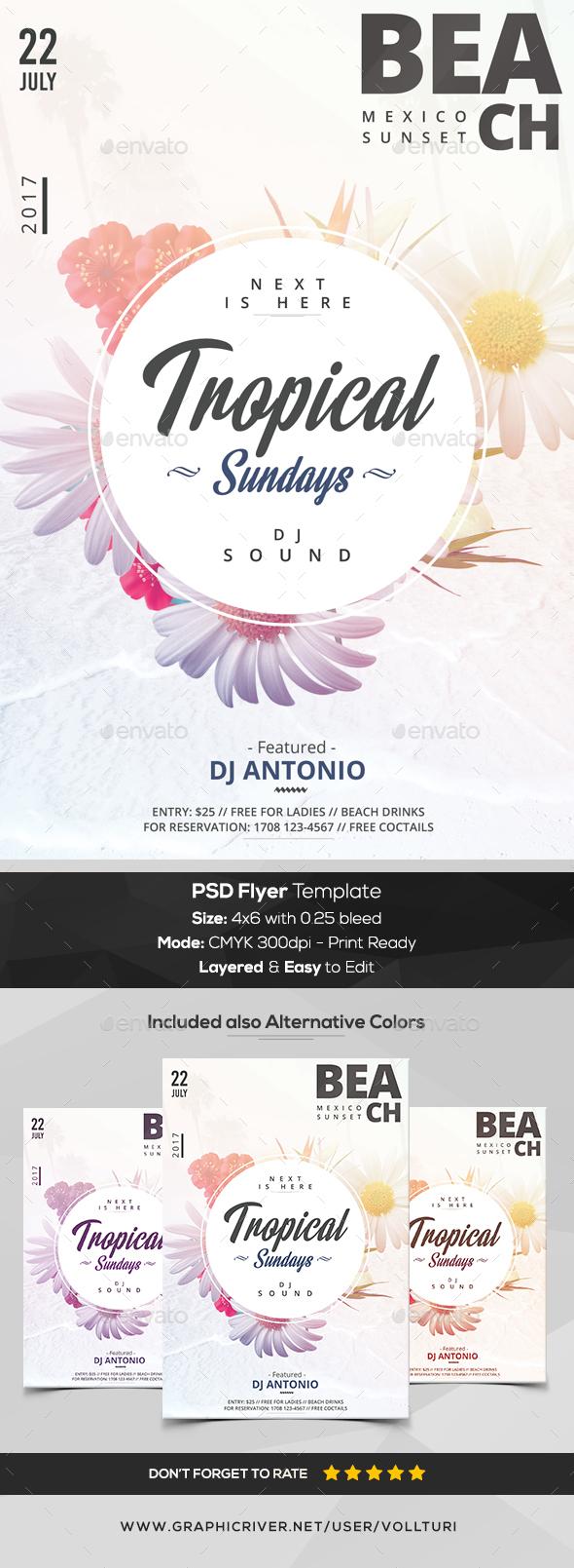 Tropical Sundays - PSD Flyer Template - Flyers Print Templates