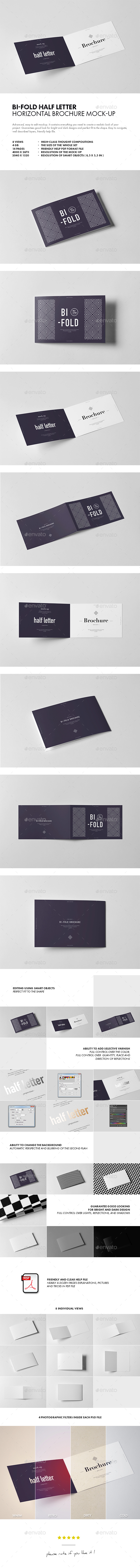 Bi-Fold Half Letter Horizontal Brochure Mock-up - Brochures Print