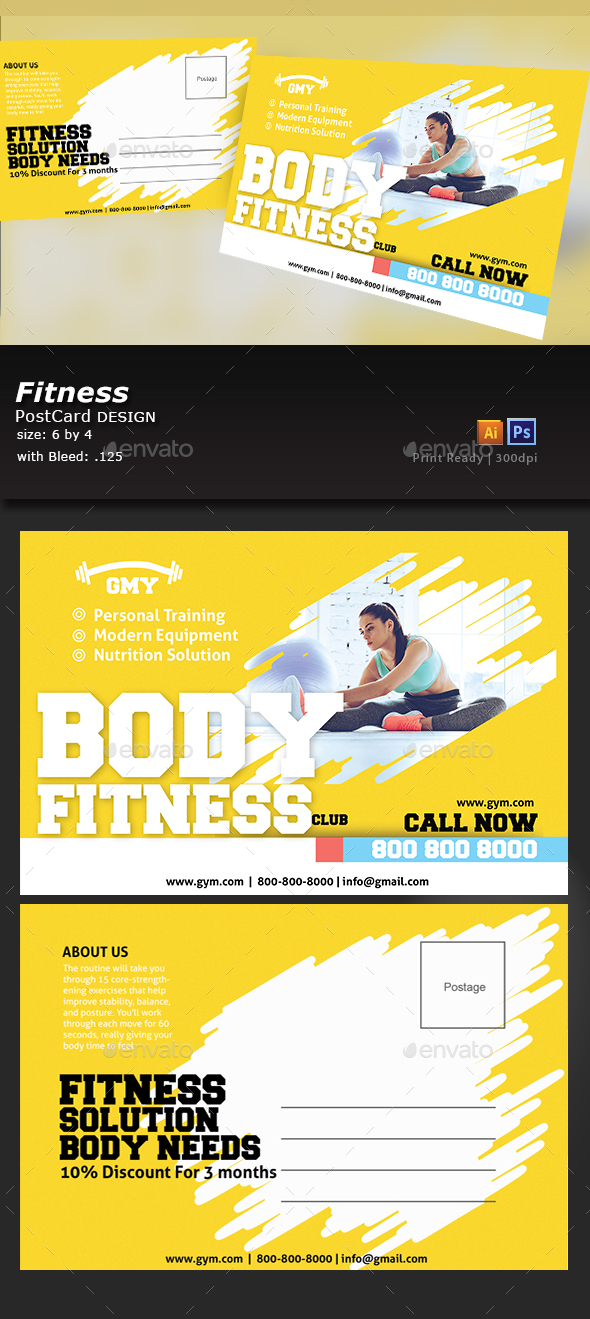 Fitness Postcard Design - Flyers Print Templates