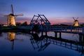 Windmills and a bridge illuminated at dusk - PhotoDune Item for Sale