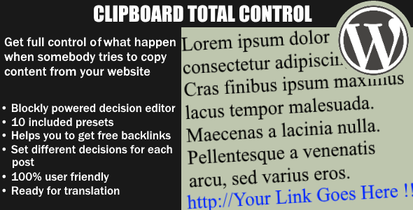 Clipboard Total Control - Control what happen when somebody copy your text - WordPess Plugin - CodeCanyon Item for Sale