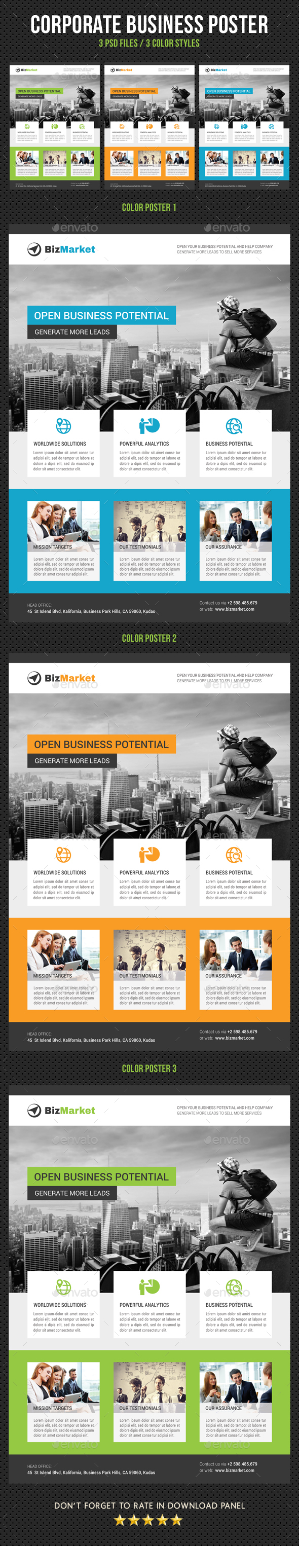 Corporate Business Poster Template V20 - Signage Print Templates