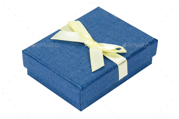 Blue decorative present box with yellow ribbon - Stock Photo - Images