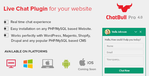 ChatBull Pro 4.x - PHP Live Chat Support with Desktop and Mobile App - CodeCanyon Item for Sale