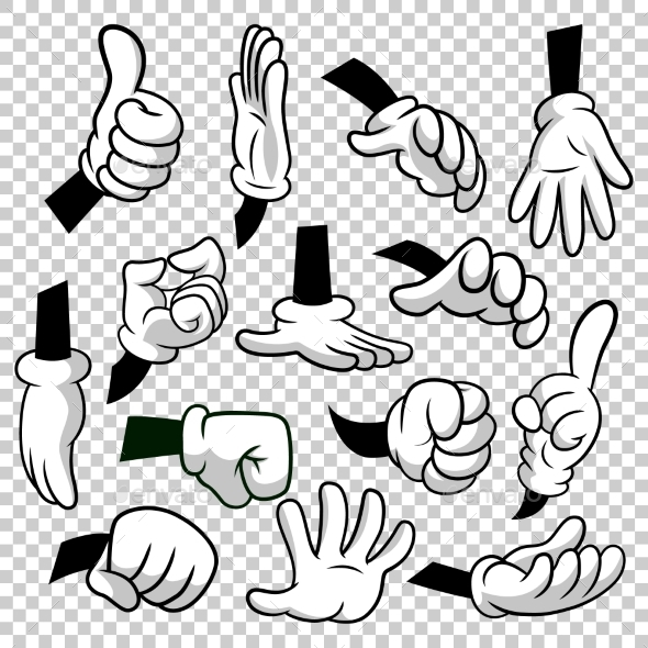 Cartoon Hands with Gloves Icon Set Isolated - People Characters