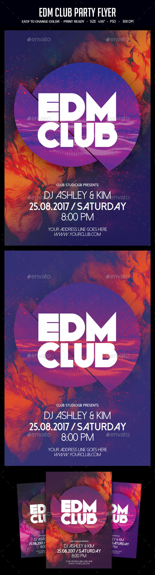 EDM Club Party Flyer - Clubs & Parties Events