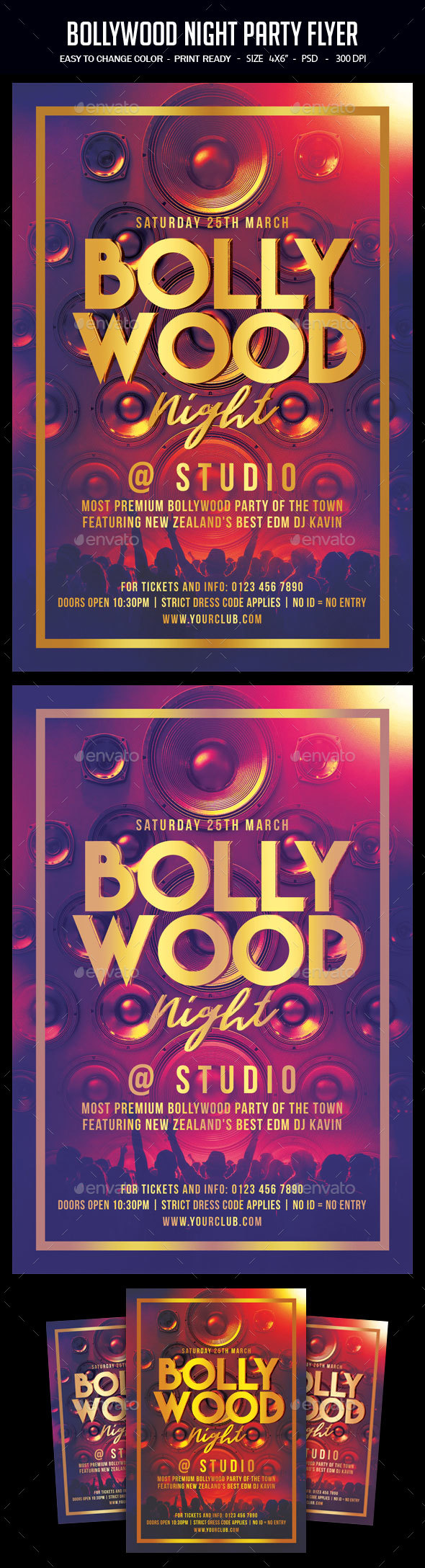 Bollywood Night Party Flyer - Clubs & Parties Events