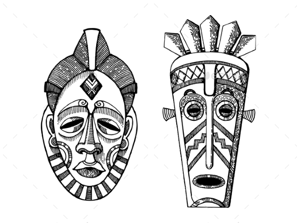African Masks of Savages Engraving Style - Miscellaneous Vectors