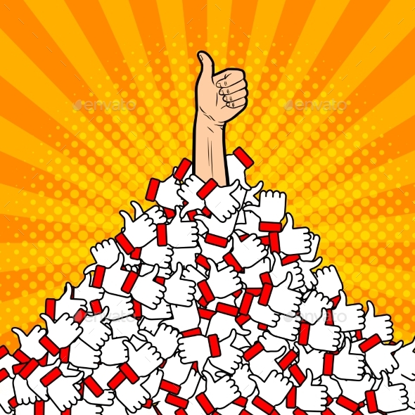 Heap of Likes Metaphor Pop Art Vector Illustration - People Characters