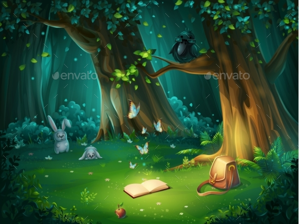 Vector Illustration of Forest Glade - Flowers & Plants Nature