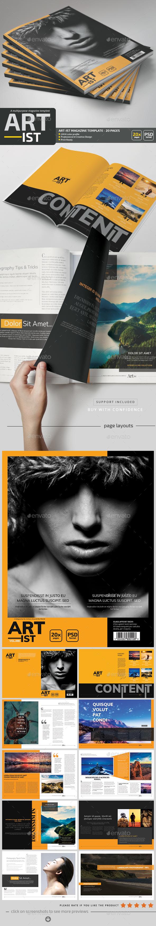 Art-ist Magazine Template V.9 - Magazines Print Templates