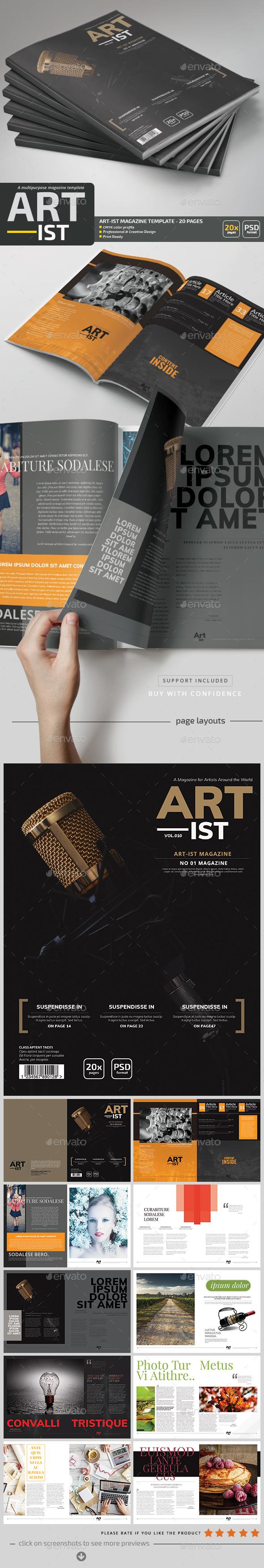 Art-ist Magazine Template V.10 - Magazines Print Templates