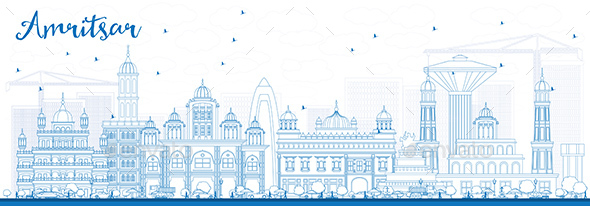 Outline Amritsar Skyline with Blue Buildings - Buildings Objects