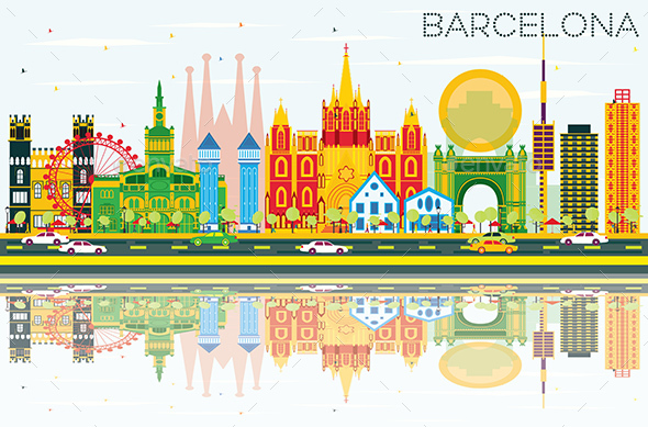 Barcelona Skyline with Color Buildings, Blue Sky and Reflections - Buildings Objects