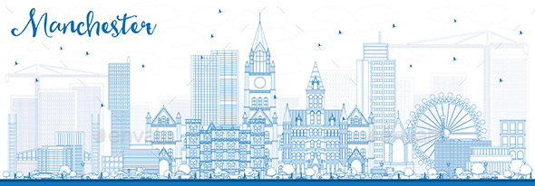 Outline Manchester Skyline with Blue Buildings - Buildings Objects