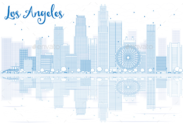 Outline Los Angeles Skyline with Blue Buildings and Reflections - Buildings Objects