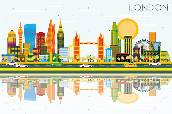 London Skyline with Color Buildings, Blue Sky and Reflections - Buildings Objects