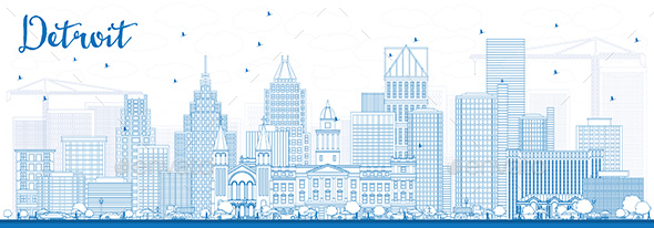 Outline Detroit Skyline with Blue Buildings - Buildings Objects