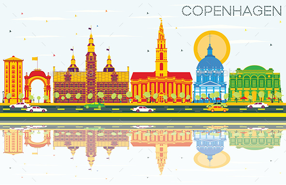 Copenhagen Skyline with Color Landmarks, Blue Sky and Reflections - Buildings Objects