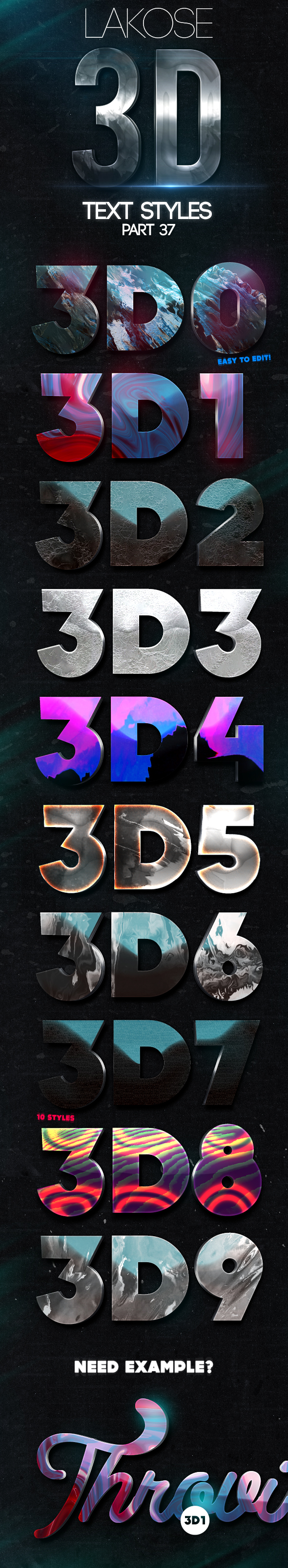 Lakose 3D Text Styles Part 37 - Text Effects Styles