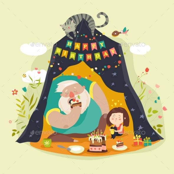 Daddy and His Daughter Celebrating Birthday - People Characters