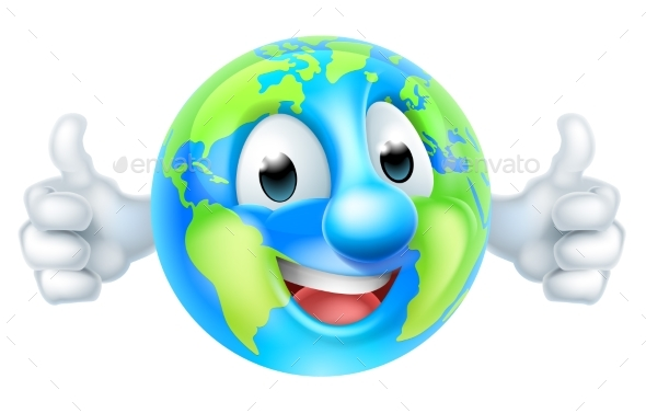 Cartoon World Earth Day Thumbs Up Globe Character - Miscellaneous Characters