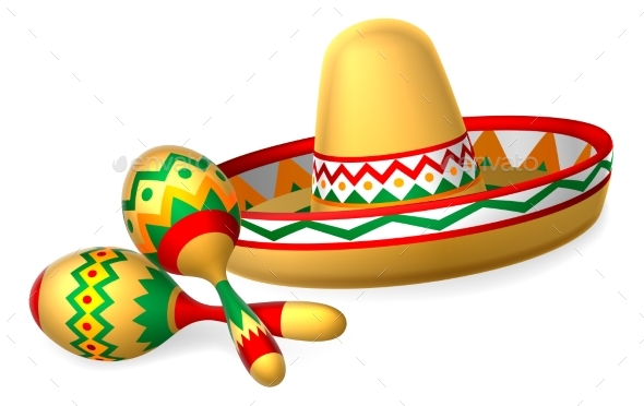 Mexican Sombrero Hat and Maracas Shakers - Man-made Objects Objects
