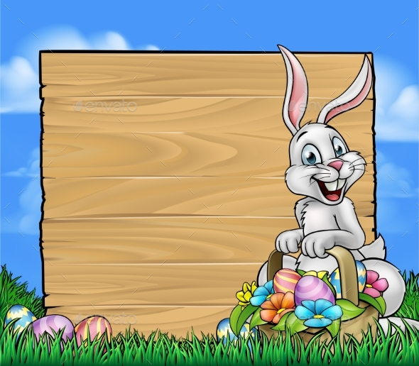Cartoon Easter Bunny Background Sign - Miscellaneous Vectors