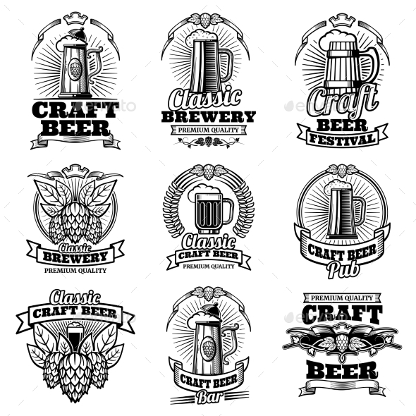 Retro Beer Pub Vector Emblems - Decorative Symbols Decorative