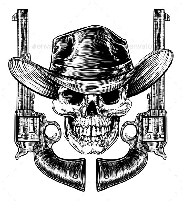 Cowboy Hat Skull and Pistols - Miscellaneous Vectors