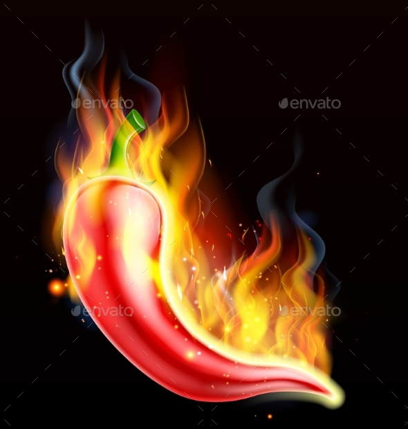 Red Hot Chilli Pepper on Fire - Food Objects