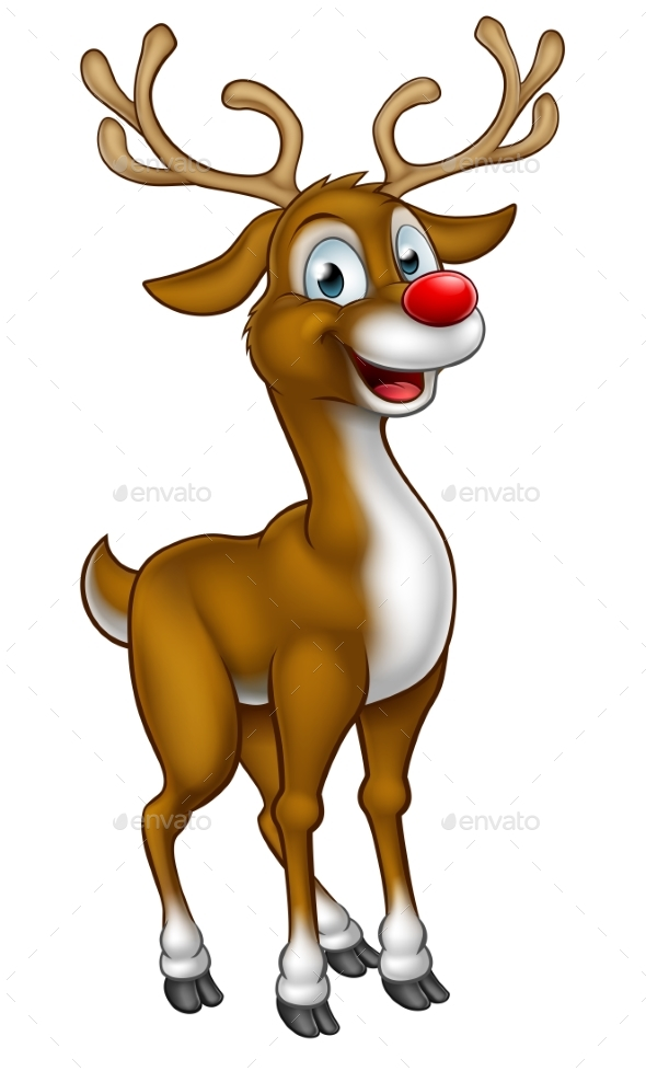 Reindeer Christmas Cartoon Character - Christmas Seasons/Holidays