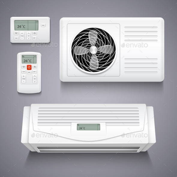 Air Conditioner Isolated Realistic Vector - Man-made Objects Objects