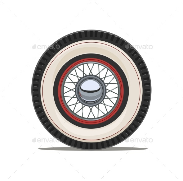 Vintage Car Wheel with Spoke Vector Illustration - Man-made Objects Objects