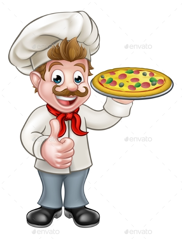 Cartoon Pizza Chef Character Mascot - Food Objects