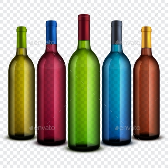 Realistic Transparent Glass Wine Bottles Isolated - Man-made Objects Objects