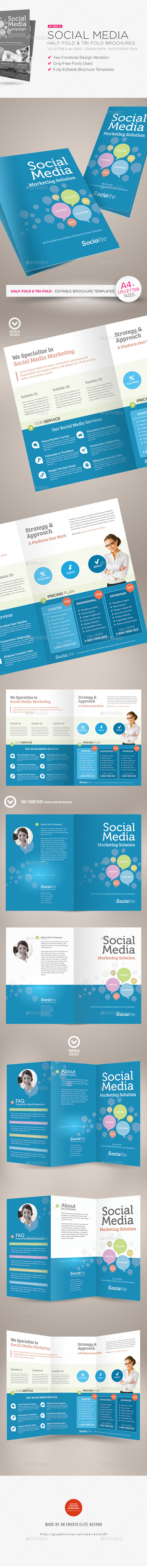 Social Media Half-fold and Tri-fold Brochures - Corporate Brochures