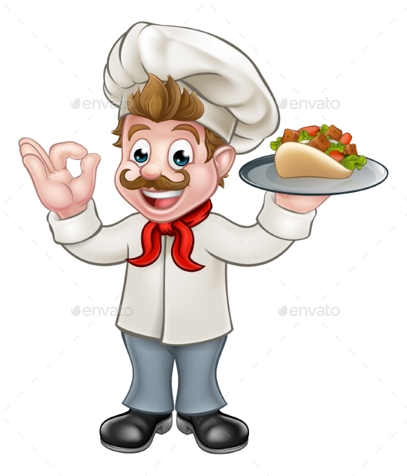 Chef Kebab Cartoon - Food Objects