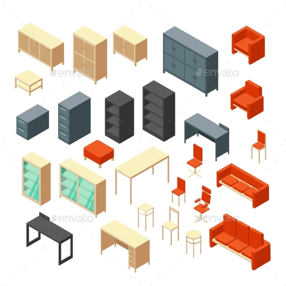 Isometric 3D Office Furniture Isolated - Man-made Objects Objects