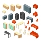 Isometric 3D Office Furniture Isolated - GraphicRiver Item for Sale