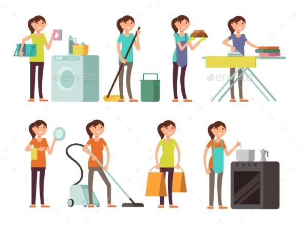 Cartoon Housewife in Housework Activity Vector Set - People Characters