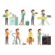 Cartoon Housewife in Housework Activity Vector Set - GraphicRiver Item for Sale