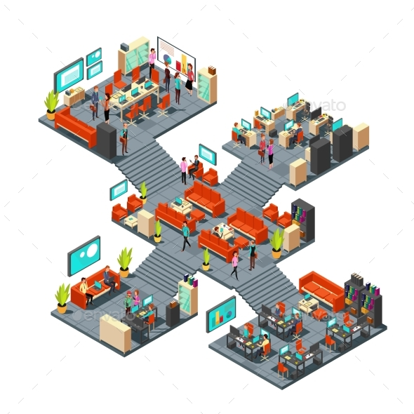 Isometric Business Offices with Staff - People Characters