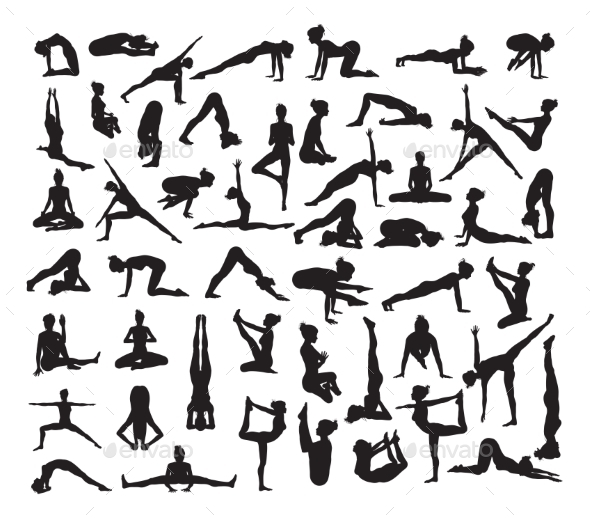 Yoga Poses Silhouettes - Sports/Activity Conceptual