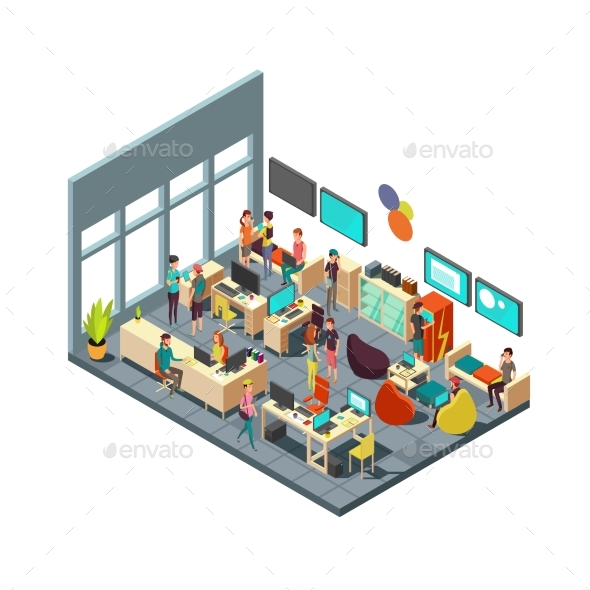 Relaxed Creative People Meeting in Room Interior - People Characters