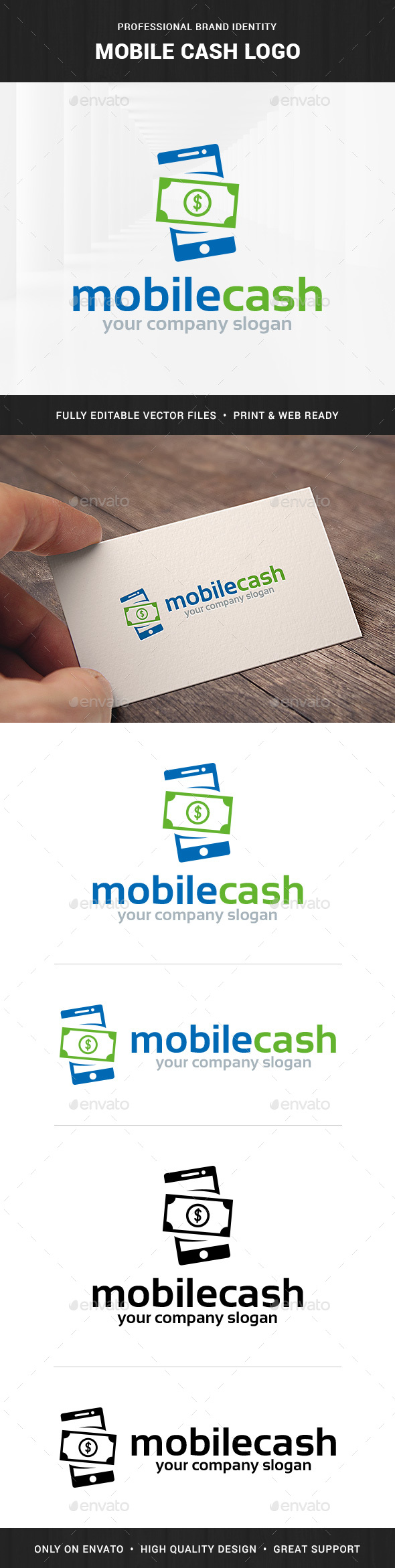 Mobile Cash Logo Template - Objects Logo Templates