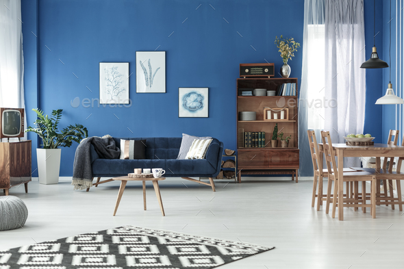 Living room with dining table - Stock Photo - Images