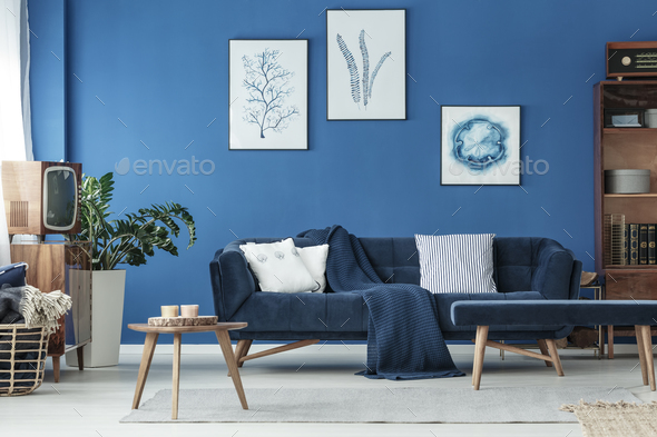 Living room with sofa and TV - Stock Photo - Images