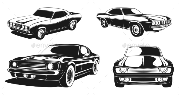 Monochrome Illustration Set of Retro Muscle Cars - Man-made Objects Objects