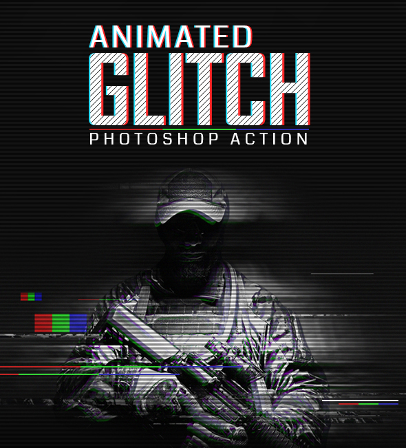 Animation Glitch Photoshop Action - Photo Effects Actions